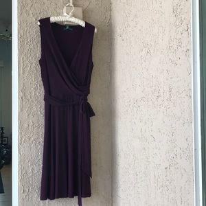 Ralph Lauren plum faux wrap dress size 14